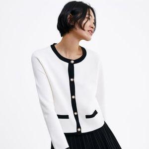 NWT Zara Pearl Cardigan Black White 6254/004